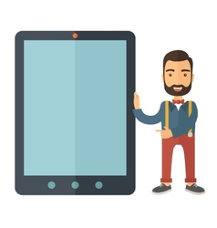 Man with big screen tablet vector