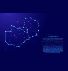 Map zambia from the contours network blue vector