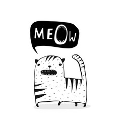 Meow cat outline black and white vector