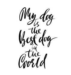 My dog is the best dog in the world hand drawn vector
