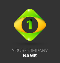 Number one logo symbol in colorful rhombus vector