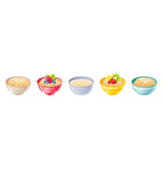 Oat bowl oatmeal breakfast cup oat grain vector