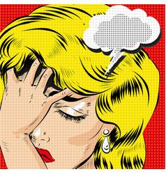 omg pop art comic blonde woman stressed art vector image