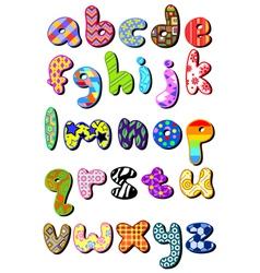 Patterned lower case alphabet vector