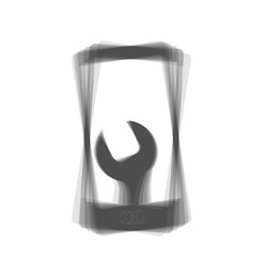 Phone icon with settings gray icon shaked vector