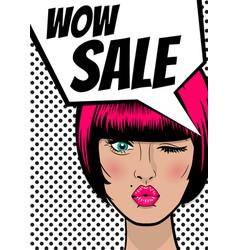 pop art woman wow sale banner speech bubble vector image