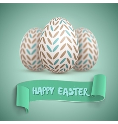 Realistic Happy Easter Easter Egg Set vector image