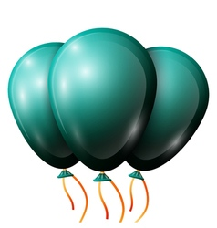 Realistic jade balloons with ribbon isolated on vector
