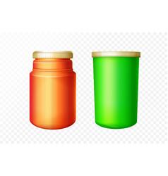 realistic medical red green bottles set vector image
