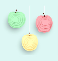 red green and yellow pastel paper cut apples vector image