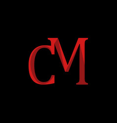 red letter cm stylish logo design vector image