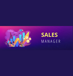 Sales growth concept banner header vector