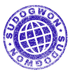 Scratched textured sudogwon stamp seal vector
