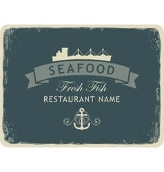 seafood restaurant with an anchor and the ship vector image