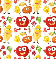 Seamless background with fruits and veggies vector image vector image