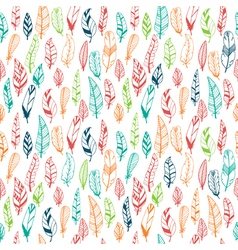 Seamless pattern with hand drawn colored feathers vector image
