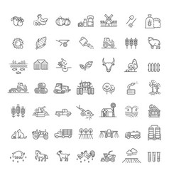 set agriculture and farming line icons vector image