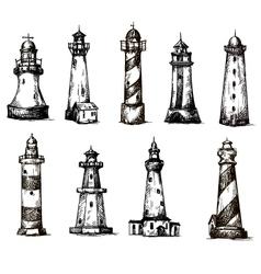 set of cartoon lighthouses icons pencil drawing vector image