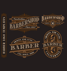set vintage barbershop emblems logos badges vector image