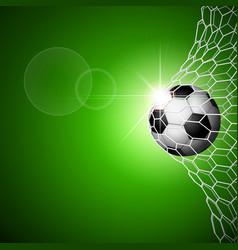soccer ball in goal green vector image