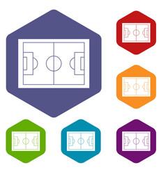 Soccer field icons set hexagon vector
