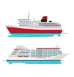 Spacious luxury cruise liner and big red steamer vector