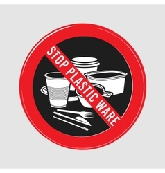 Stop sign ban plastic dishes fork knife vector