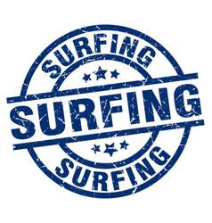 surfing blue round grunge stamp vector image
