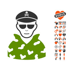 Swat soldier icon with valentine bonus vector