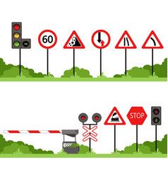 traffic signs set various road sign vector image