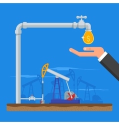 Transform oil to money concept Get cash from pipe vector image