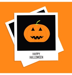 Two instant photos with pumpkin happy halloween vector