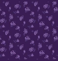 vintage violet floral seamless pattern vector image