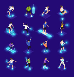 vr sports isometric icons vector image