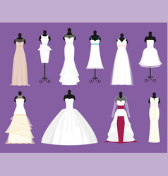 Wedding bride white dresses set bride vector