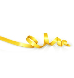 Yellow curled ribbon party vector