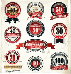 Anniversary sign collection retro design vector image vector image