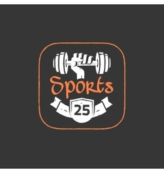 Gym workout logo emblem isolated on dark vector image vector image