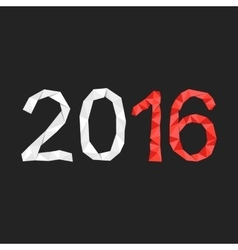red and white polygonal 2016 year number vector image vector image
