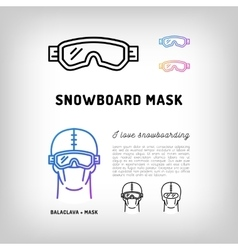 Snowboard mask hockey and ski goggles winter vector