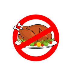 Stop roasted turkey prohibited fried food red vector