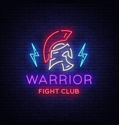 fight club neon sign warrior logo in neon style vector image