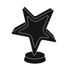 gold award in the shape of a starthe prize for vector image vector image