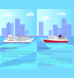luxurious cruise liner and spacious steamship vector image vector image