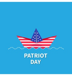 Paper boat blue patriot day Flat vector image vector image