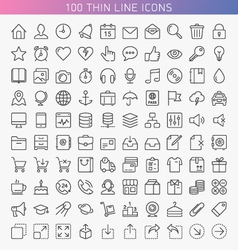 100 thin line icons vector image vector image
