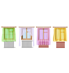 A set of cartoon colored image of window curtains vector