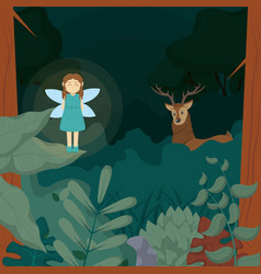 forest fairy with deer vector image