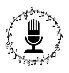 border musical notes with microphone vector image vector image