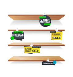 empty shelves cyber monday sale advertising vector image vector image